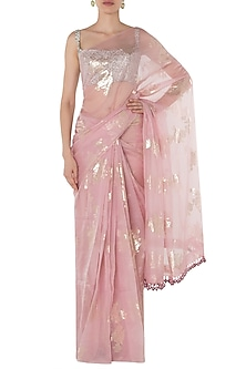 Pink Foil Printed Saree with Silver Pearl Trinkelet Blouse by Manishii