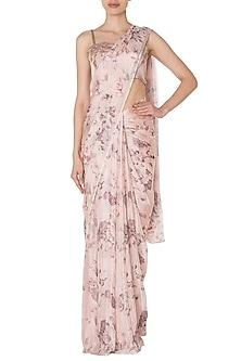 Pink Floral Digital Printed Saree Set by Manishii