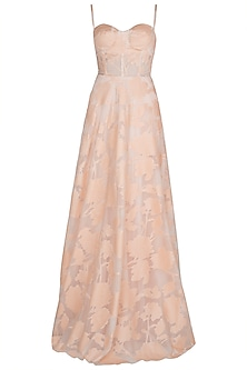 Salmon Pink Embossed Gown