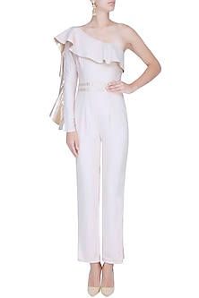 Ivory One Sleeved Frill Detail Jumpsuit by Manika Nanda