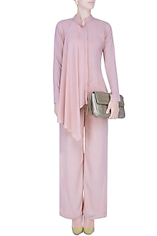 Nude High Low Panelled Shirt and Flared Pants Set by Manika Nanda