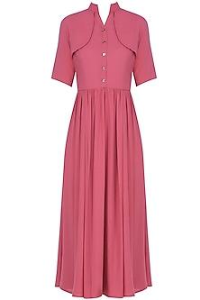 Pink Shoulder Flap Front Buttoned Midi Dress by Manika Nanda