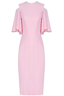 Blush Pink Cold Shoulder Flared Sleeve Dress by Manika Nanda