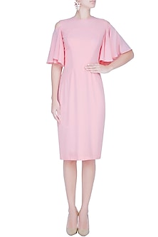 Blush Pink Cold Shoulder Flared Sleeve Dress by Manika Nanda
