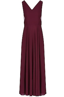 Marsala Red Sheer Side Panelled Midi Dress by Manika Nanda