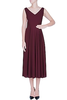 Marsala Red Sheer Side Panelled Midi Dress by Manika Nanda