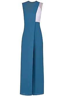 Cerculean Blue Front Overlay Panelled Jumpsuit by Manika Nanda