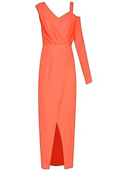 Orange High Slit One Sleeve Ankle Gown by Manika Nanda