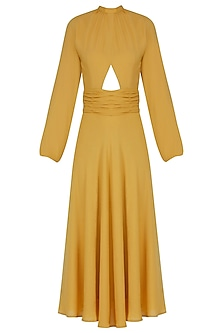 Mustard Yellow Pleated Retro Midi Dress by Manika Nanda