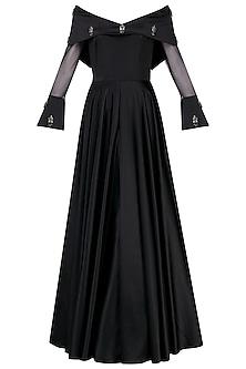 Black Off Shoulder Audrey Gown by Manika Nanda