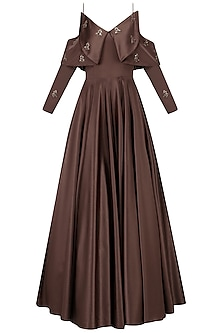 Dark Mohagony Cold Shoulder Gown