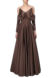 Dark Mohagony Shoulder Gown