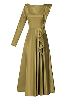 Gold Bronze Frilled Midi Dress