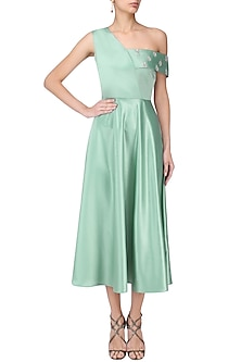 Tiffany Green Shoulder Midi Dress