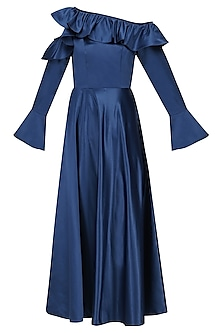 Electric Blue Cold Shoulder Frilled Dress