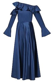 Electric Blue Cold Shoulder Frilled Dress by Manika Nanda