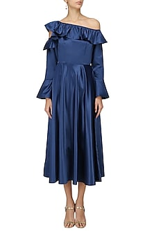 Electric Blue Shoulder Frilled Dress