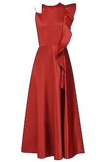 Fire Brick Ruffled Midi Dress