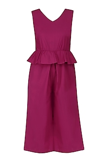Ruby Pink Peplum Style Cropped Playsuit