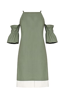 Laurel Green Flounce Sleeves Cold Shoulder Dress