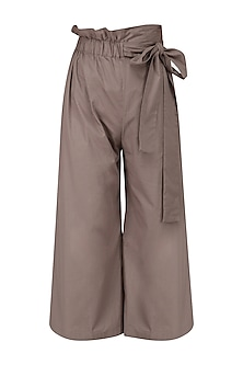 Mauve High Waisted Tie Up Pants by Manika Nanda