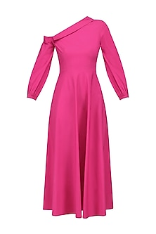 Fuschia Pink Collared Off Shoulder Retro Midi Dress by Manika Nanda
