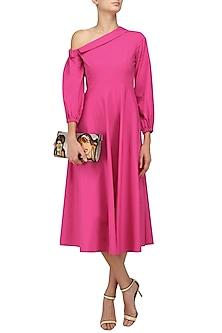 Fuschia Pink Collared Off Shoulder Retro Midi Dress by Manika Nanda