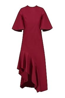 Red Cascade High Low Dress by Manika Nanda