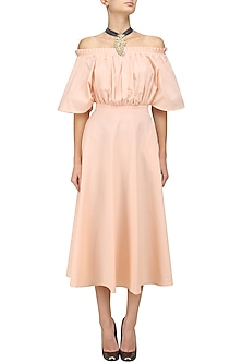 Powder Peach Blusson Style Off Shoulder Midi Dress by Manika Nanda