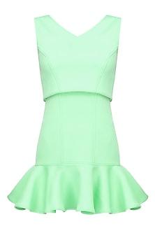 Mint green flared hem overlay babydoll dress by Manika Nanda