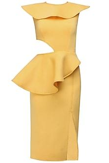 Honey yellow cutout overlay peplum dress by Manika Nanda
