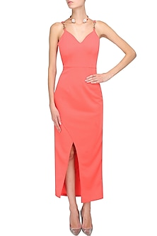 Peach amber chantilly cutout maxi dress by Manika Nanda