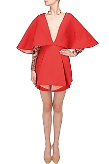 Fiesta red low neck batwing dress by Manika Nanda