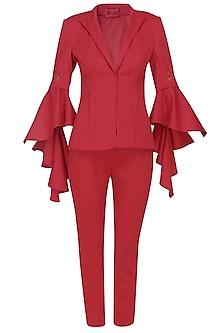 Flaming red cascading sleeves power blaze and pants set by Manika Nanda