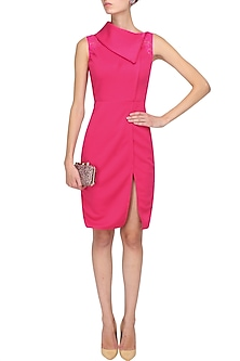 Magenta roll over collared high slit dress by Manika Nanda