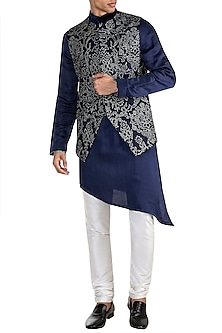 Navy Blue Embroidered Bundi Jacket With Kurta by More Mischief