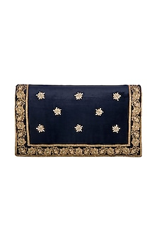 Navy Blue Hand Embroidered & Sewed Taj Clutch by MKNY
