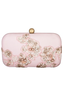 Pale Pink Embroidered Sling Clutch by MKNY