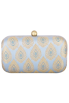 Powder Blue Textured Sling Clutch by MKNY