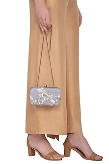 Grey Embroidered Sling Clutch by MKNY