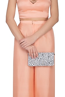 Silver Embroidered Sequins Clutch by MKNY