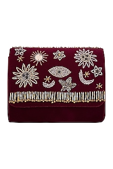 Deep red embroidered cross body bag by MKNY