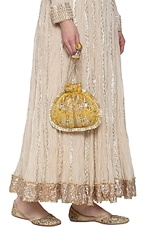 Ochre gold embroidered potli