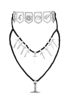 Silver Finish Tale Of Seven Kingdoms Layered Necklace by Masaba X GOT