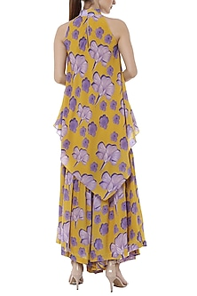 Yellow Bumblebee Crayon Flower Printed Tunic With Sharara Pants by Masaba