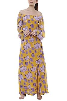 Yellow Bumblebee Crayon Flower Printed Off Shoulder Maxi Dress by Masaba