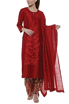 Scarlet Red Blooming Garden Printed Kurta Set by Masaba