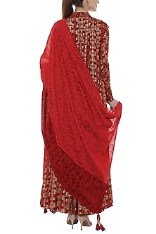 Scarlet Red Tree Trunk Printed Anarkali Set by Masaba