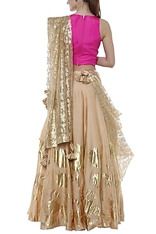 Sand & Gold Floral Impression Printed Lehenga Set by Masaba