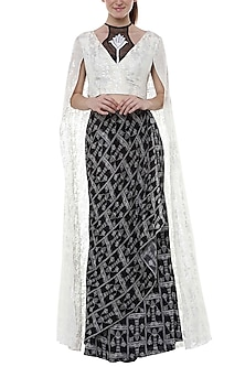 Black & White Printed Embroidered Lehenga Skirt With Wrap Blouse by Masaba
